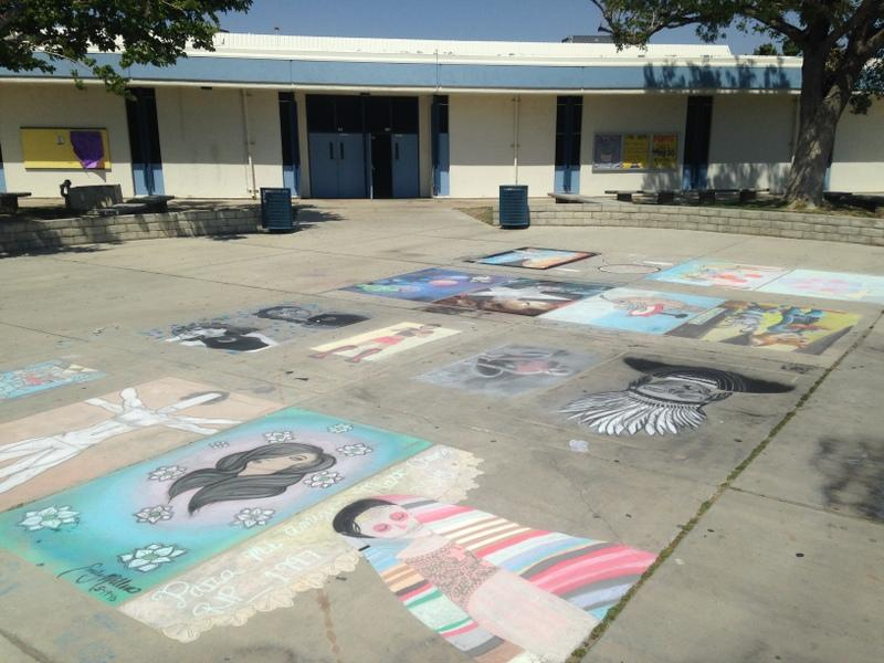 The Chalk Art Contest was held outside of the QHHS library.