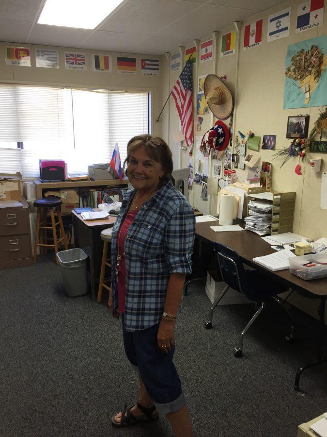 Mrs. Bertell in her natural habitat, room V12