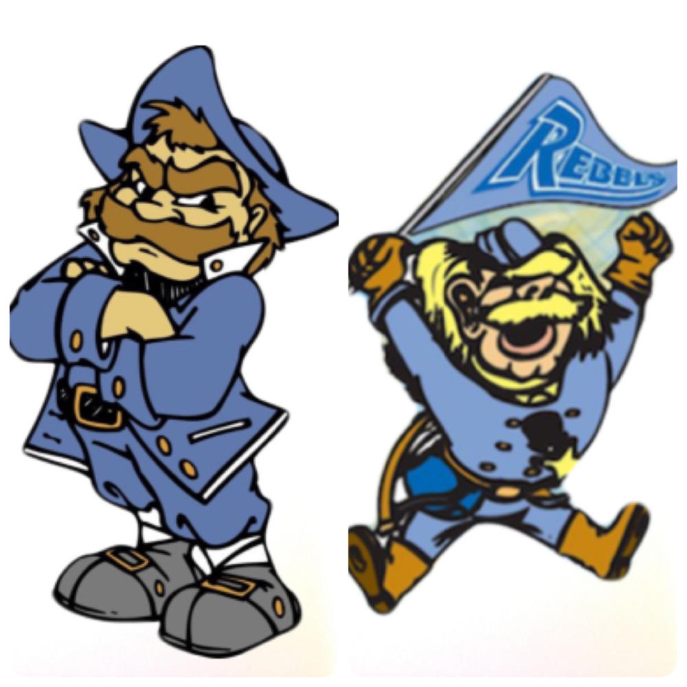 The current Johnny Rebel (left) compared to the old mascot (right)